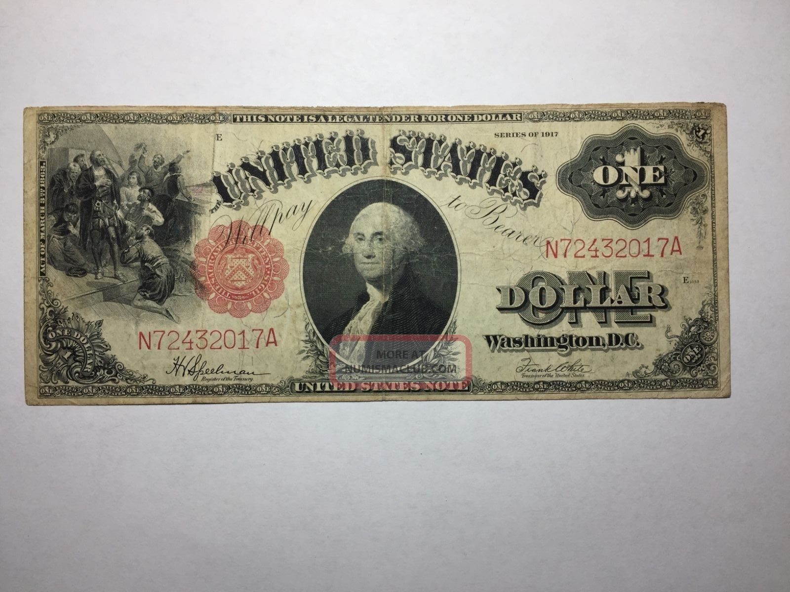 Series 1917 Large Size $1 Legal Tender Us Note Sawhorse Reverse Fine Fr 39 Large Size Notes photo