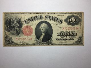 Series 1917 Large Size $1 Legal Tender Us Note Sawhorse Reverse Fine Fr 39 photo