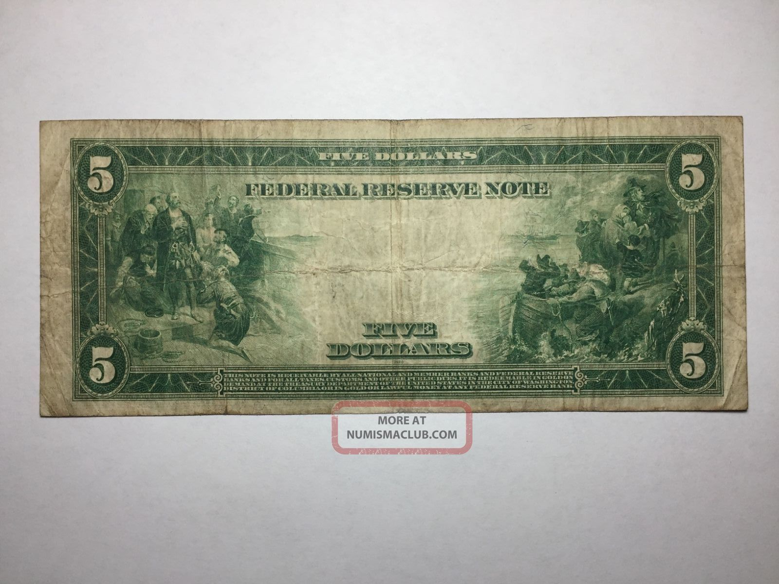 Series 1914 Blue Seal $5 Federal Reserve Note 4 - D Cleveland - Fine - Fr 859 - A Large Size Notes photo
