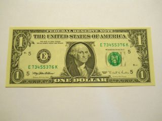 Uncirculated 1995 $1.  00 Federal Reserve Note photo