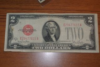 1928 - D $2 Two Dollar Red Seal Note Bill Da Block - photo