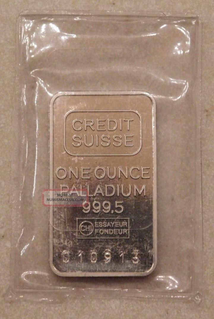 1 One Troy Ounce Oz Credit Suisse Palladium Bar Fine.  9995 Bullion photo