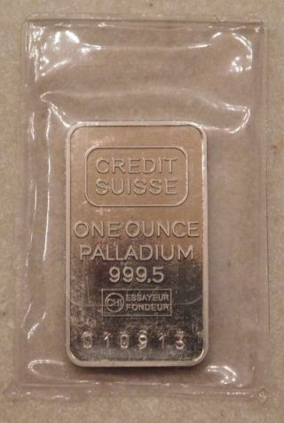 1 One Troy Ounce Oz Credit Suisse Palladium Bar Fine.  9995 photo