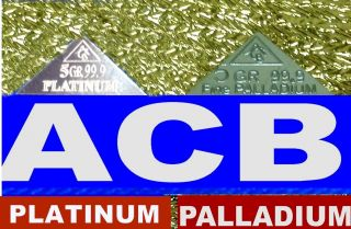 Acb 2 Pyramids X1 Palladium & X1 Platinum 5grain Bullion Minted Bar 99.  9 Pure photo