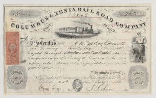 1868 Columbus & Xenia Rail Road Company.  Issued/signed/cancelled/transferred. photo