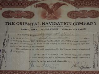 1923 The Oriental Navigation Company Old Stock Certificate 6 Shares 117 photo