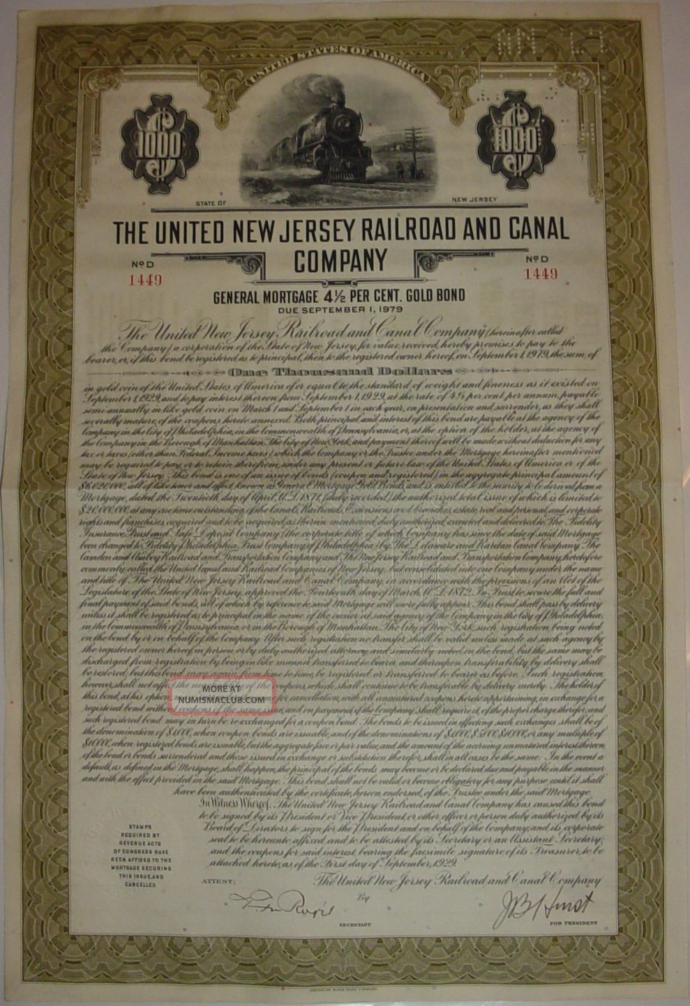 United Jersey Railroad & Canal Company Bond Stock Certificate Transportation photo