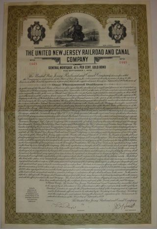 United Jersey Railroad & Canal Company Bond Stock Certificate photo