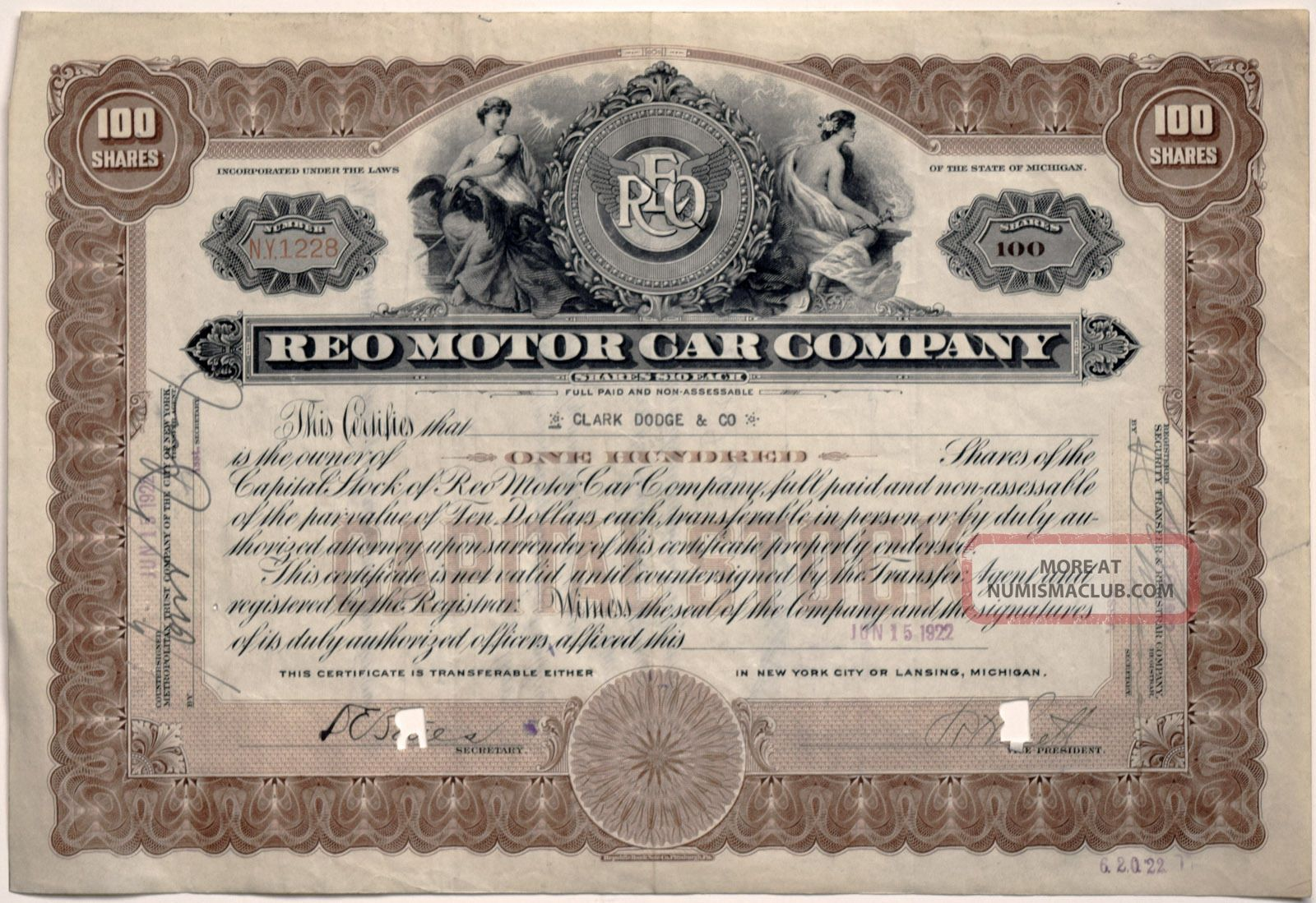 Reo Motor Car Company: 1922 Capital Stock Certificate For 100 Shares - N.  Y.  1228 Stocks & Bonds, Scripophily photo