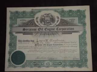 1922 Syracuse Oil Engine Corporation Old Stock Certificate 36 Shares photo