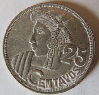 Guatemala 1958 Silver 25 Centavos Km - 258 Lower Mintage photo