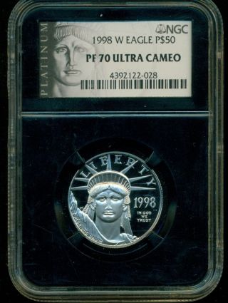 1998 - W 1/2 Oz.  9995 Platinum Eagle $50 Ngc Pf70 Uc Proof 70 Ultra Cameo photo