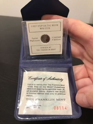 Rare Franklin Solid Platinum,  First Step On The Moon Mini Coin photo