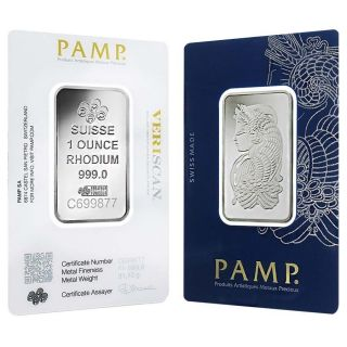 1 Oz Platinum Pamp Suisse Rhodium Bar.  999 Fine (in Assay) photo