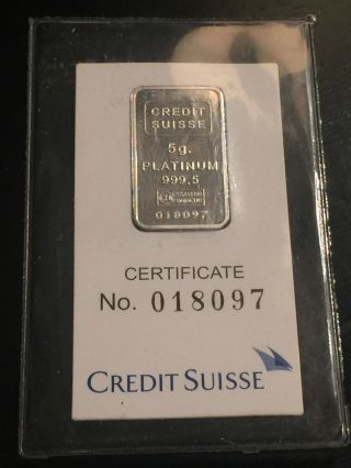 5 Gram.  9995 Platinum Bar - Credit Suisse Liberty Mtb Valcambi photo