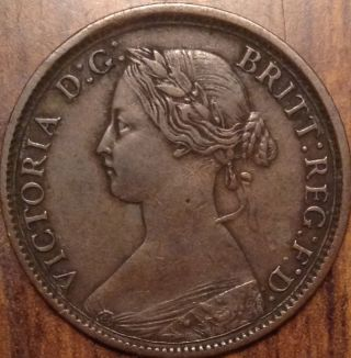 1861 Uk Great Britain Farthing Hg Example In photo