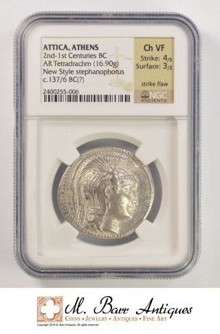 Ch Vf Anicent Greece 137 - 136 B.  C.  Tetradrachm - Ngc Graded Yc181 photo