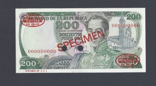 Colombia 200 Pesos 1 - 1 - 1979 P419s Specimen N001 Tdlr Uncirculated photo