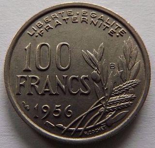 1956 - B France 100 Francs Au Reeded Edge Beaumont - Leroger Lady Liberty photo