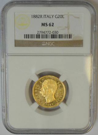 1882 R Italy 20 Lire Gold.  Ngc Ms62.  Umberto I. photo