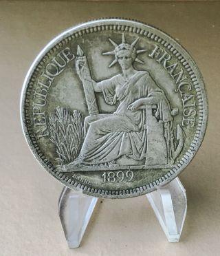 French Indo - China,  Piastre 1899 - A,  Paris,  Silver Trade Dollar photo