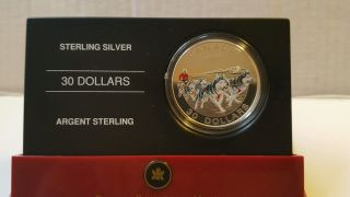 Royal Canadian 2006 30$ Sterling Silver Coin Dog Sled Team Colorized photo