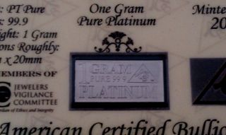 Acb Solid Platinum Pt Bullion 1 Gram Bar 9.  99 With Certificate Of Authenticity photo
