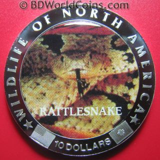 2000 Liberia $10 Silver Plated Proof Rattlesnake Snake In Acrylic Wildlife Crown photo