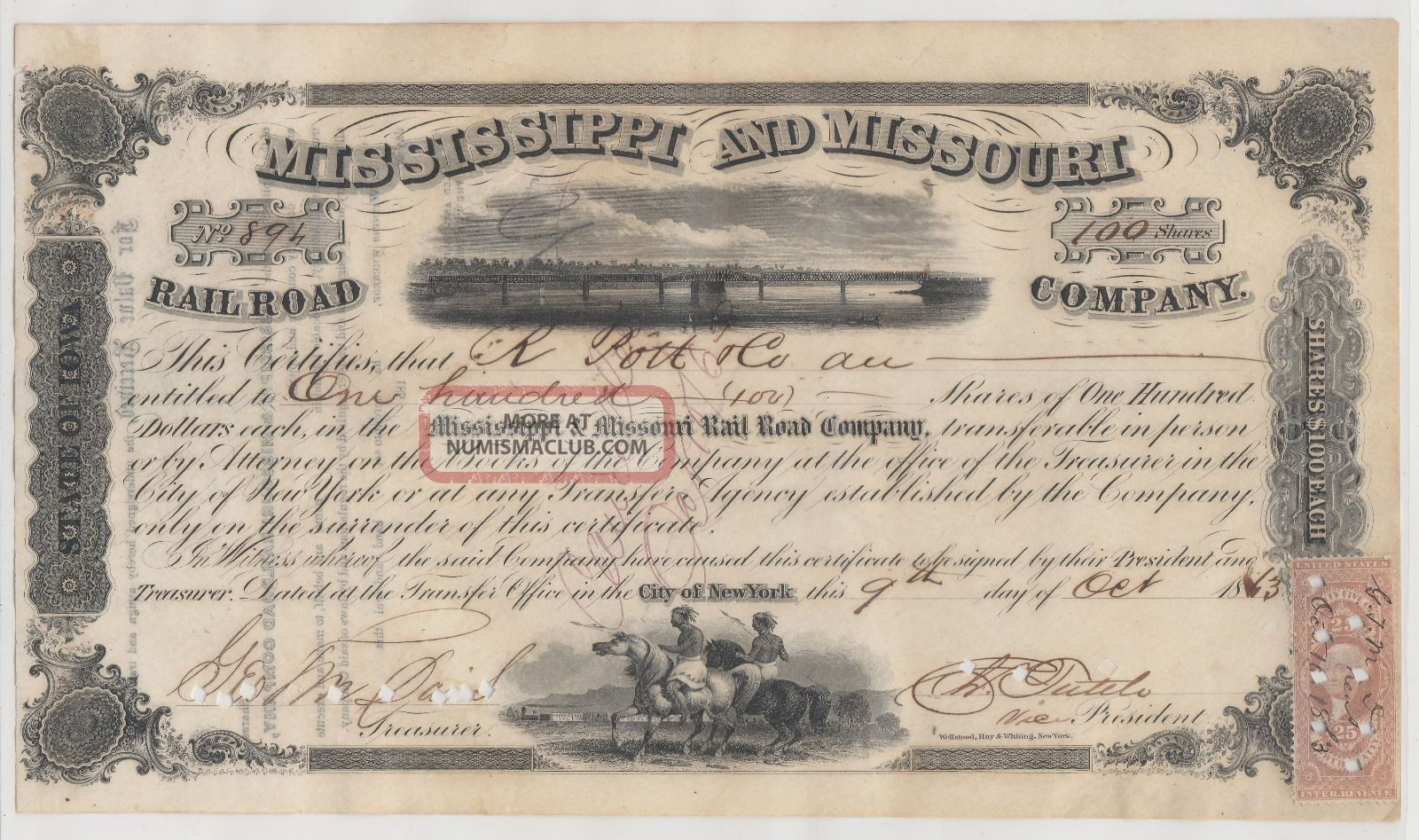 1863 Mississippi And Missouri Railroad Company.  Issued/signed/cancelled. Transportation photo