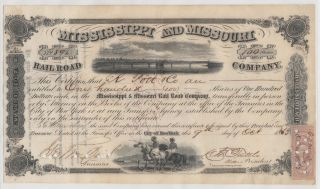 1863 Mississippi And Missouri Railroad Company.  Issued/signed/cancelled. photo