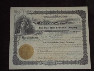 1920 Ohio State Petroleum Company Old Stock Certificate 100 Shares photo