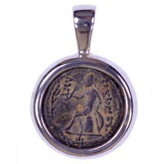 Seleucid Serrated Bronze Coin.  925 Silver Pendant Antiochus Iv Biblical/judean photo