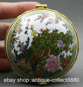 85mm China Colour Porcelain Peafowl Flower Mirror Fashion Jewelry Box photo