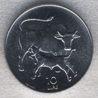 San Marino 10 Lire 1972 Cow Suckling Calf Uncirculated photo