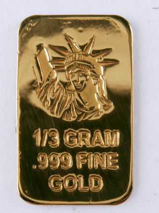 1/3 Gram Gold Bar Of 24k Pure.  999 Fine Gold Strategic Bullion A2b photo