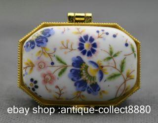 49mm China Colour Porcelain Blue Flower Leaf Decorative Border Vogue Jewelry Box photo