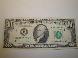 (1) $10.  00 Series 1985 Federal Reserve Note Xf Circulated. photo