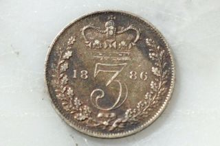 Scarce,  Old 1886 Great Britain,  Uk Silver 3 Pence Coin Victoria,  Grade photo