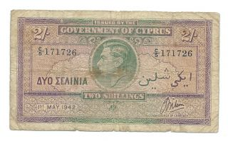 Cyprus 1942 Two Shillings Banknote,  Serial Number: C/5 171726.  Very Scarce, photo