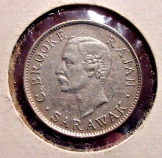 Very Rare 1911 H - 10 Cent Silver Coin From Sarawak (malaysia) photo