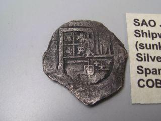 Pre - 1622 Spanish Colonial Silver 4 Reales.  Sao Jose Shipwreck Cob Coin.  7 photo