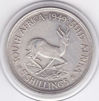South Africa 1949 King George Vi Five Shillings (5/ -) Large Silver Coin photo