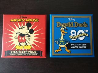 2014 Niue 1/4 Oz Proof Gold $25 Disney Steamboat Willie And Donald Duck (2 Coin) photo