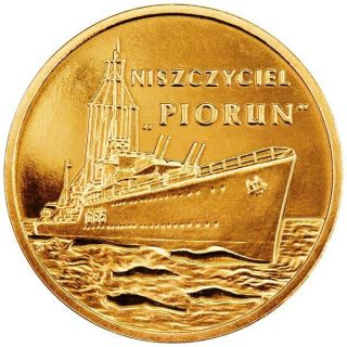 Poland 2 Zlote 2012 Y837 Ship Destroyer Piorun - Thunderbolt Unc photo