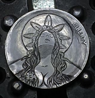 Hobo Buffalo Nickel Marijane Carved Coin By Barb Hunter Ohns photo