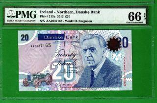 Northern Ireland - 2012 Danske Bank 20 Pounds P213a Banknote Pmg66 Epq Gem Unc photo