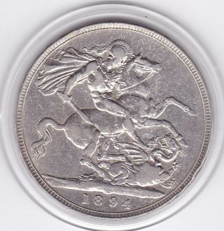 1894 Queen Victoria Large Crown / Five Shilling Coin From Great Britain photo