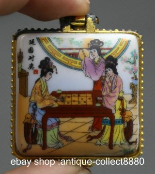 45mm Chinese Colors Porcelain Three Woman Play Chess Vogue Jewelry Box photo
