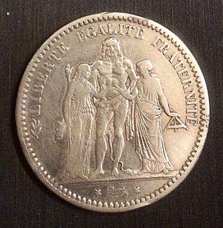 France 1873a Silver 5 Francs Hercules Trio 24.  97g photo