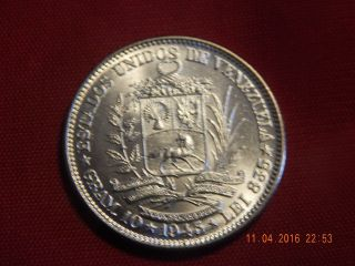 1945 Venezuala Dos Bolivares - Bu Silver (. 2685 Asw) - 3,  000,  000 Only - 27 Mm photo